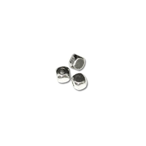 Bead Cube 4mm Sterling Silver Plated (12-Pcs)
