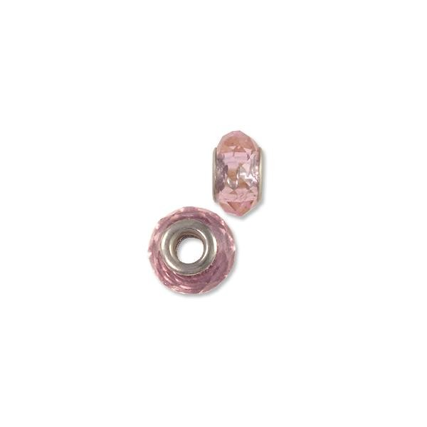 Faceted Large Hole Glass Bead with Grommet 14x8mm Transparent Pink (1-Pc)