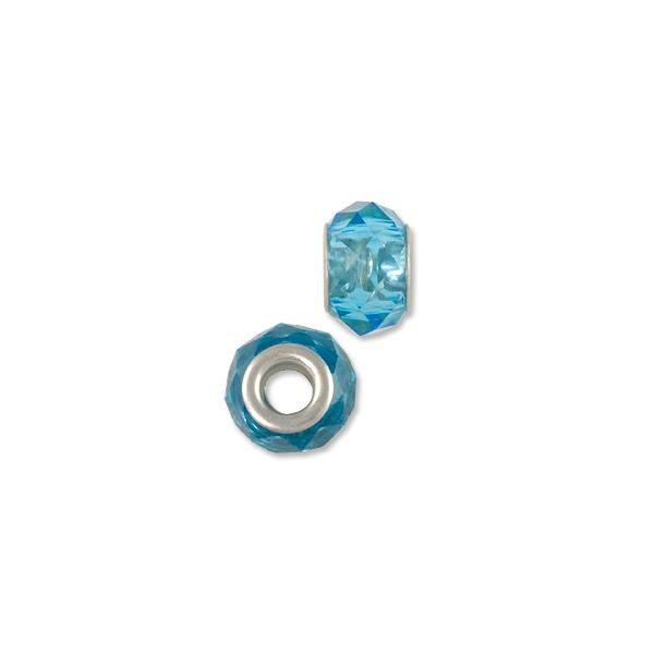 Faceted Large Hole Glass Bead with Grommet 14x8mm Transparent Light Blue (1-Pc)