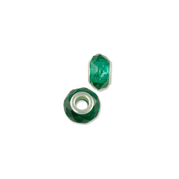 Faceted Large Hole Glass Bead with Grommet 14x8mm Transparent Green (1-Pc)