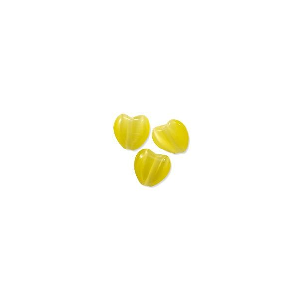 Cat's Eye Heart Bead 6mm Yellow (200-Pcs)