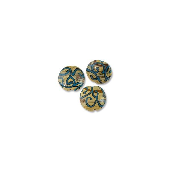 Puffy Round Lampwork Bead 22mm Tan with Blue Swirls (1-Pc)
