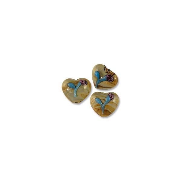 Puffy Heart Lampwork Bead 19x22mm Tan with Blue Flower (20-Pcs)