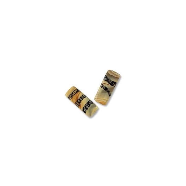 Flat Rectangle Lampwork Bead 11x26mm Tan with Black Stripes (1-Pc)