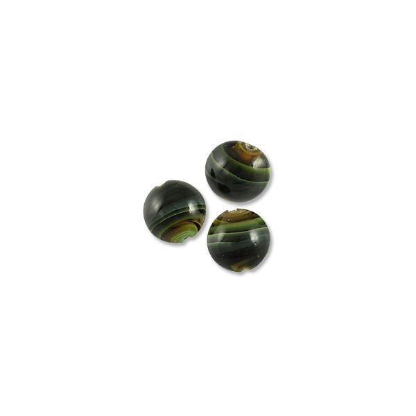 Puffy Round Lampwork Bead 16mm Black with Dark Brown and Green Swirls (40-Pcs)