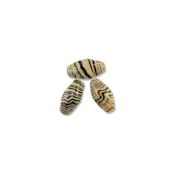 Twisted Corrugated Oval Lampwork Bead 20x10mm Tan with Black Swirl (1-Pc)