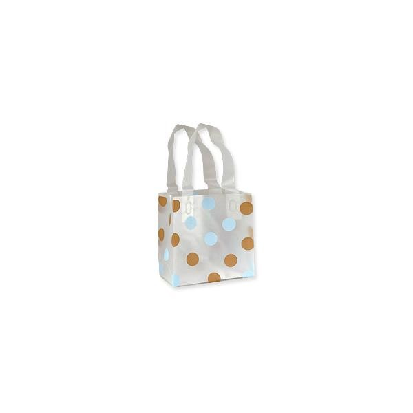 Gift Bag - Frosted White Medium Blue and Brown Polka Dots