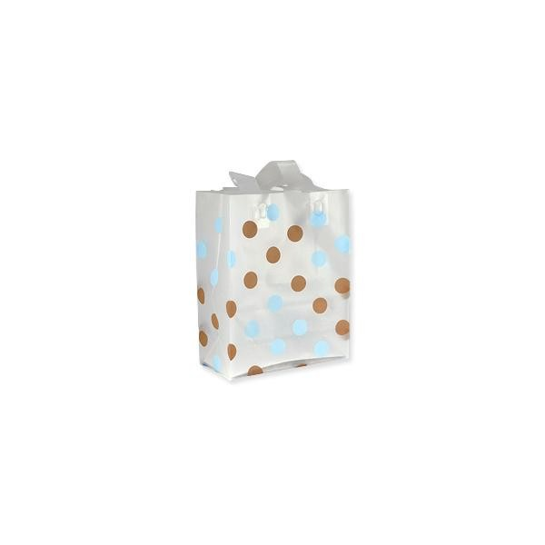 Gift Bag - Frosted White Large Blue and Brown Polka Dots