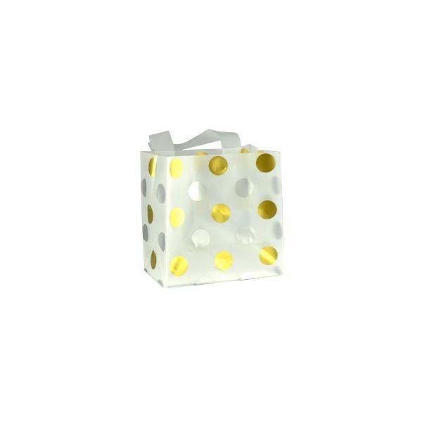 Gift Bag - Frosted White Medium Gold and Silver Polka Dots