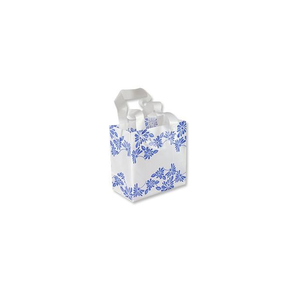 Gift Bag - Frosted White Medium Blue Flowers