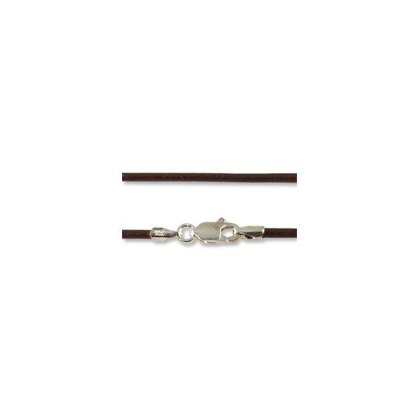 Greek Leather Cord 2.0mm Brown with Sterling Silver Clasp 16""