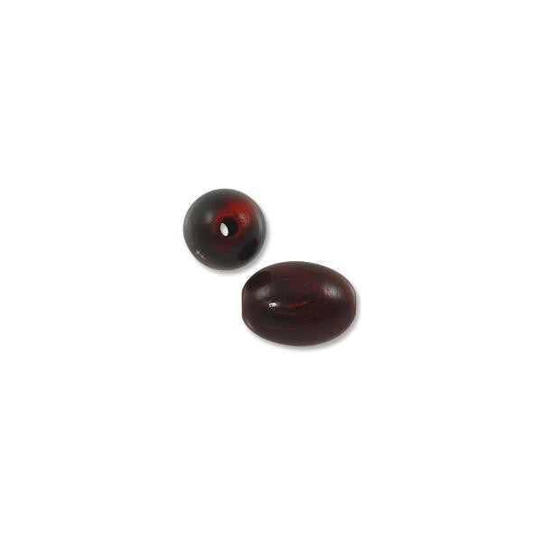 Horn Beads Oval Red 25.5x18mm (3-Pcs)