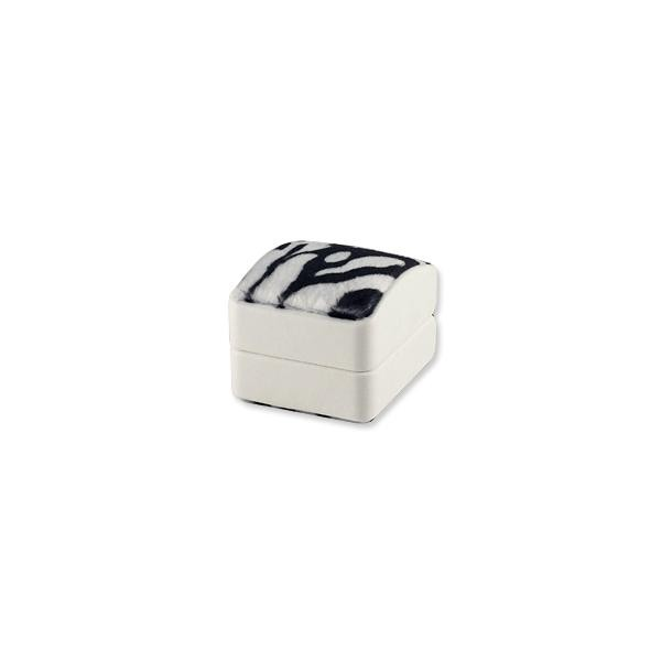 Dome Top Ring Box - Faux Zebra Fur