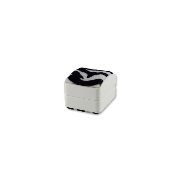 Dome Top Ring (Clip) Box - Faux Zebra Fur