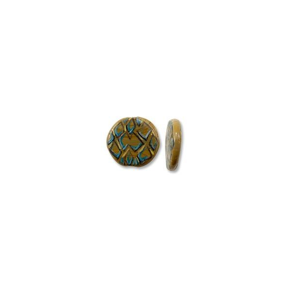 Hand Painted Glass Flat Round Tortoise Shell Bead 25mm (1-Pc)