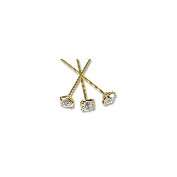 Swarovski 1-½ Inch Gold Plated Head Pin with 4mm Crystal Chaton (2-Pcs)