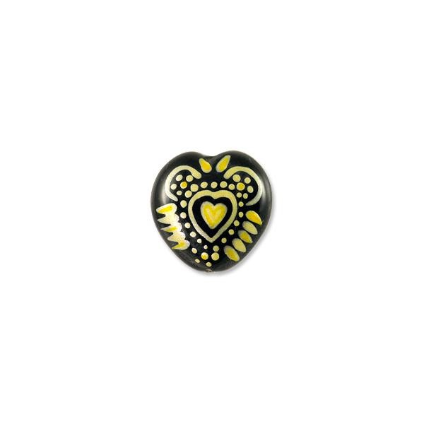 Hand Painted Glass Bead Heart 20mm Yellow (1-Pc)