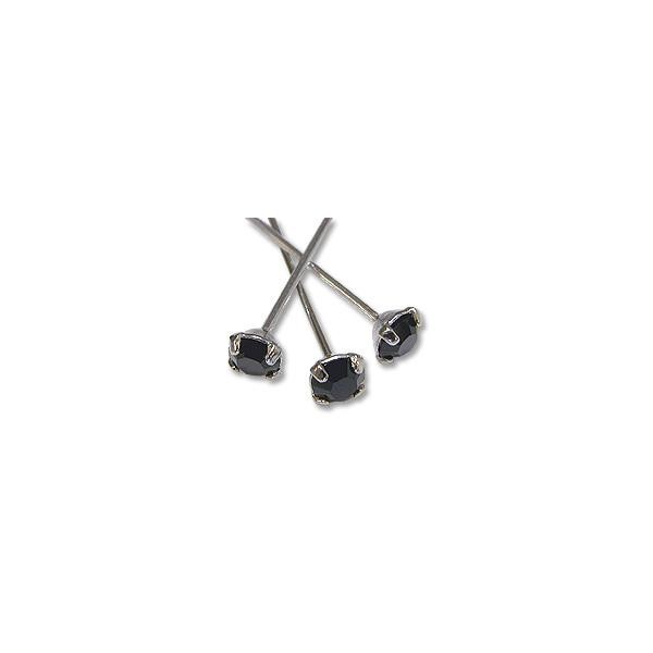 Swarovski Head Pin 1-1/2 inch Jet Sterling Plated (4-Pcs)