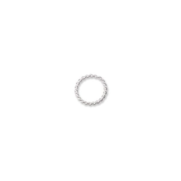 Jump Ring Twisted Round Open 8mm Sterling Silver (4-Pcs)