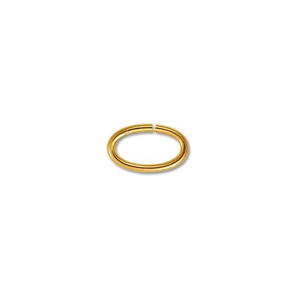 12x6mm Gold Plated Oval Open Jump Ring (25-Pcs)