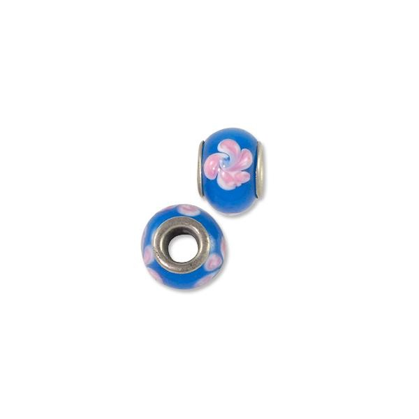 Lampwork Glass Bead Large Hole with Grommet 13x8mm Blue/Pink Flower (1-Pc)