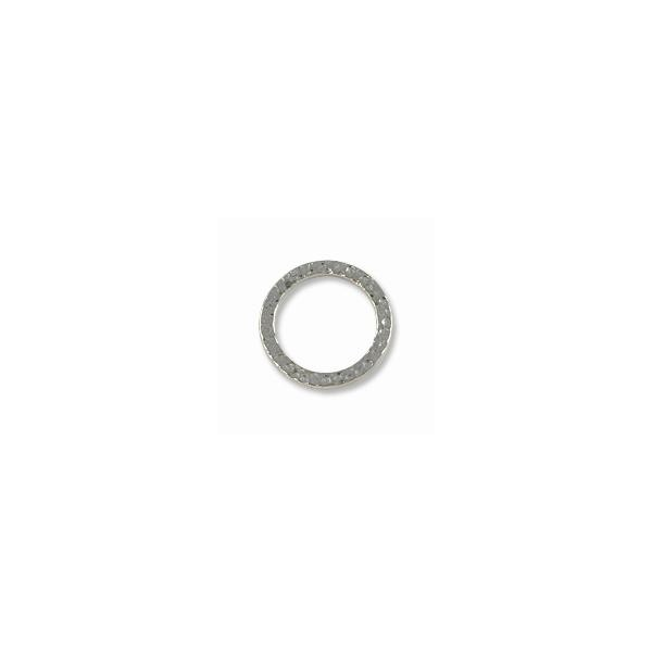 TierraCast Hammered Ring Connector Pewter Bright Rhodium Plated 19mm  (1-Pc)