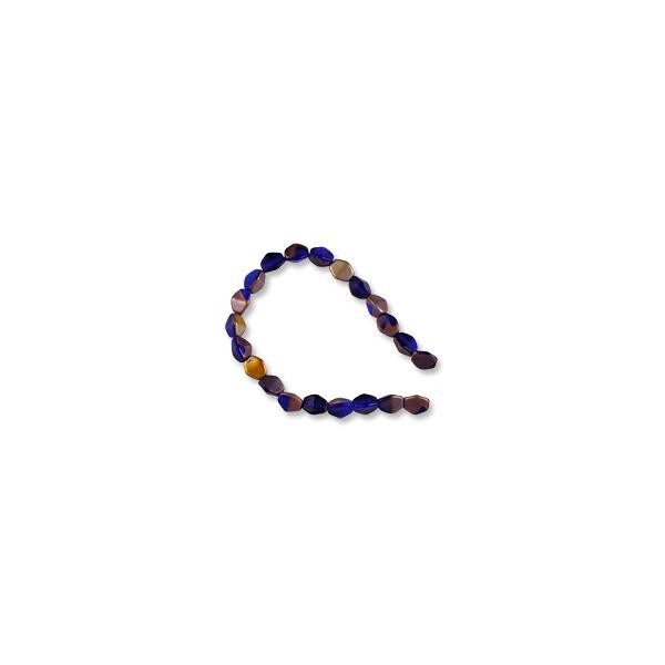 "Czech Glass Pinch Beads 3x5mm Frosted Cobalt/Copper Coated (7"" Strand)"