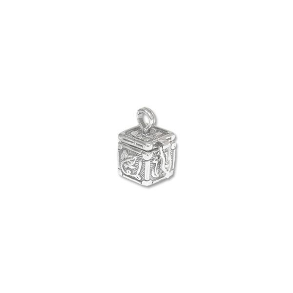 Prayer Box 13x12mm Leaf Design Sterling Silver (1-Pc)