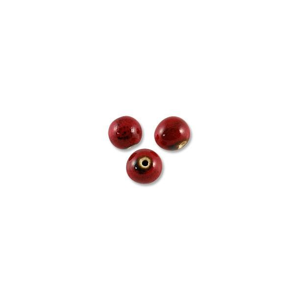 Red Porcelain Beads Round 12mm (3-Pcs)
