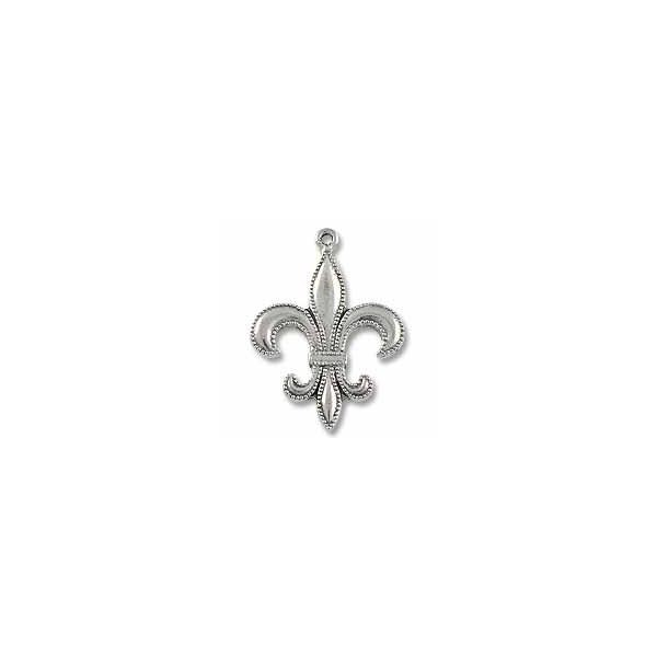 35x26mm Antique Silver Plated Fleur de Lis  Pewter Pendant