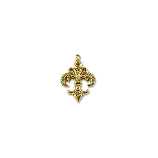 Fleur de Lis Pendant 38x27mm Pewter Antique Gold Plated (1-Pc)