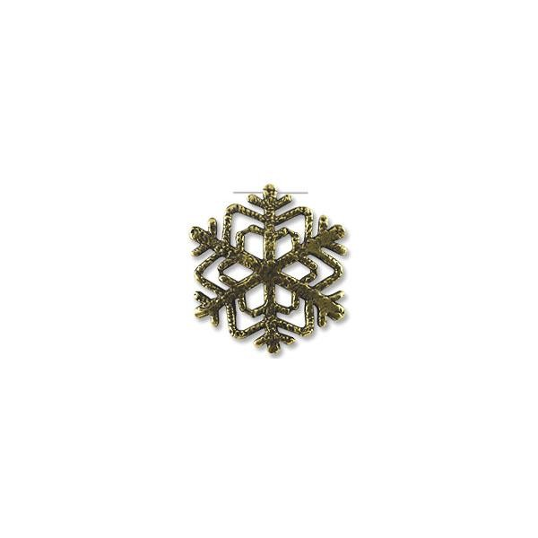 Snow Flake Pewter Pendant 32x33mm Antique Brass Plated (6-Pcs)