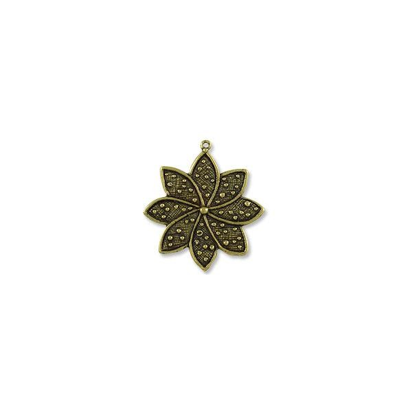 Star Flower Pendant 33x37mm Antique Brass Plated (1-Pc)