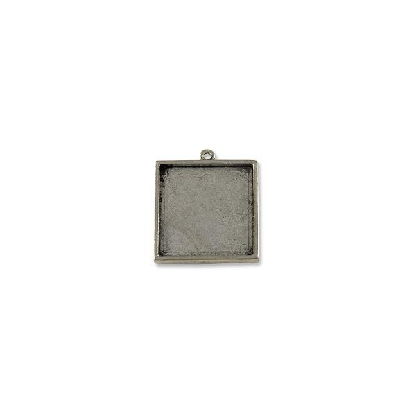 25mm Antique Silver Plated Square Frame Pewter Pendant