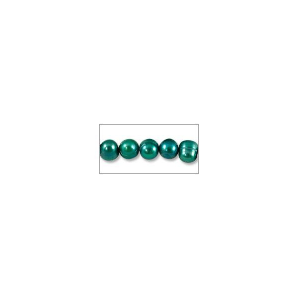 "Freshwater Potato Pearls Dark Teal Green 7-8mm (16"" Strand)"