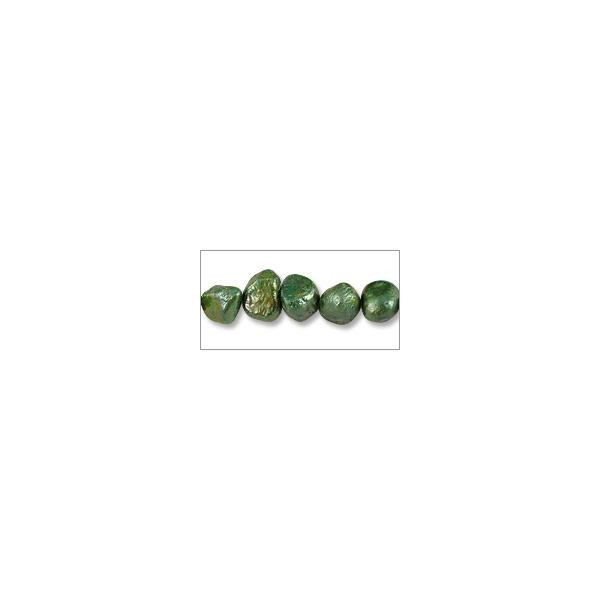 "Freshwater Potato Pearl Nuggets Viridian 7-8mm (16"" Strand)"