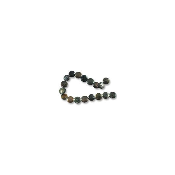 "Freshwater Coin Pearls Peacock Moss Green 12-13mm (16"" Strand)"