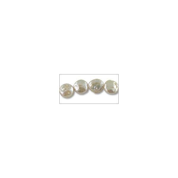 "Freshwater Coin Pearl Baroque White 11-12mm (16"" Strand)"