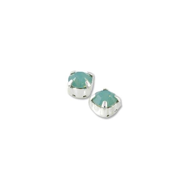 Swarovski Crystal 6mm Pacific Opal Rhodium Plated Round 2-Hole Setting (1-Pc)