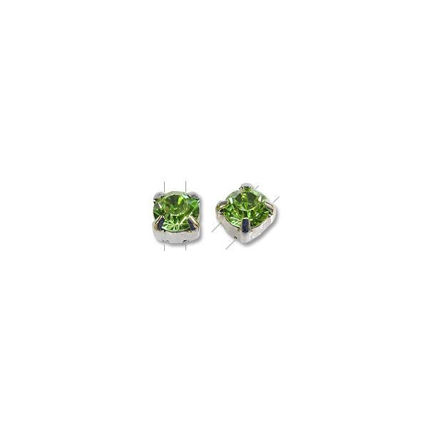 Swarovski Round 2-Hole Setting 6mm Peridot Sterling Plated (1-Pc)