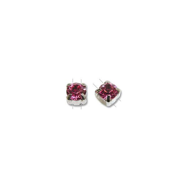 Swarovski Round 2-Hole Setting 6mm Rose Sterling Plated (1-Pc)
