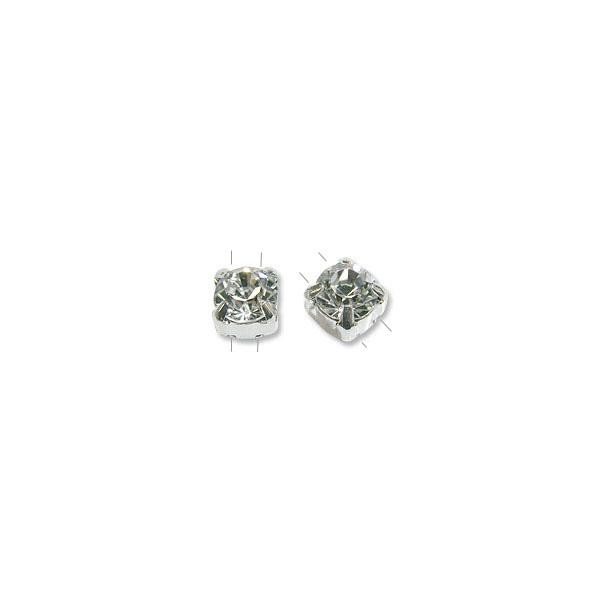 Swarovski Round 2-Hole Setting 6mm Crystal Sterling Silver (1-Pc)