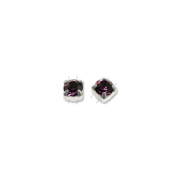 Swarovski Round 2-Hole Flat Back Setting 6mm Amethyst Sterling Silver (1-Pc)
