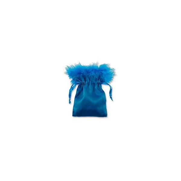 Satin Feather Pouch Medium Turquoise (10-Pcs)