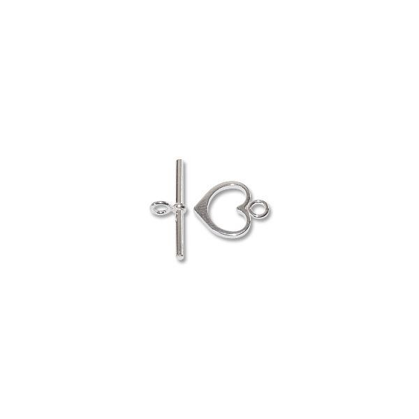 Heart Toggle Clasp 15x14mm Sterling Silver (Set)