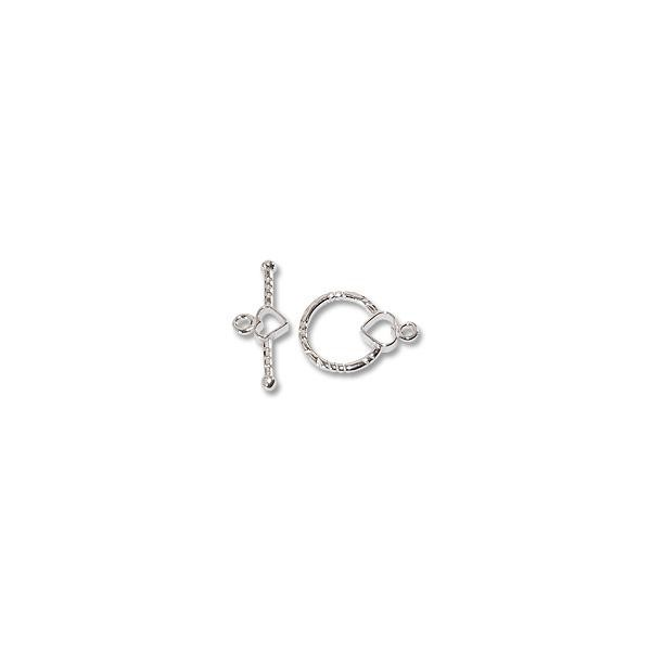 Toggle Clasp Round/Heart 14mm Sterling Silver (Set)