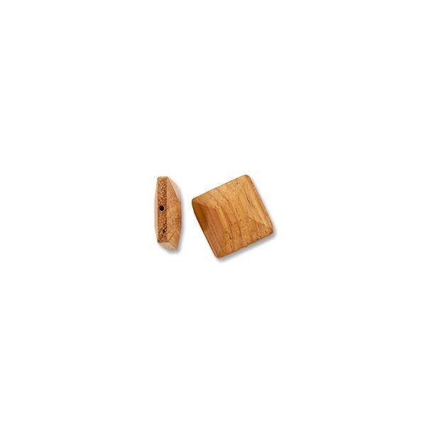 Bayong Wood Faceted Square Bead 20mm Brown (1-Pc)