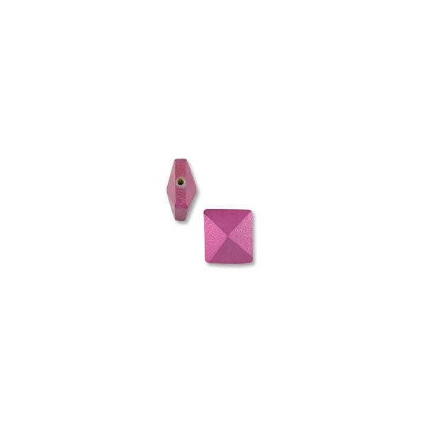 Wood Pyramid Square Bead Dyed Raspberry Red 15mm (1-Pc)