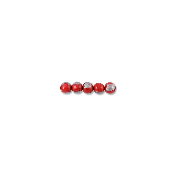 "Wood Beads Round 16mm Red/Silver (16"" Strand)"