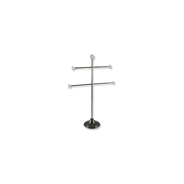 Double Arm Jewelry Stand Black Chrome/Crystal